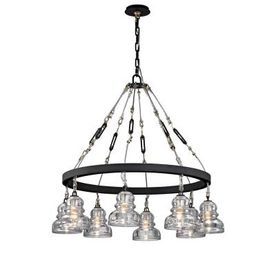 Menlo 8-Light Deep Bronze Park Chandelier with Historic Clear Pressed Glass Shade