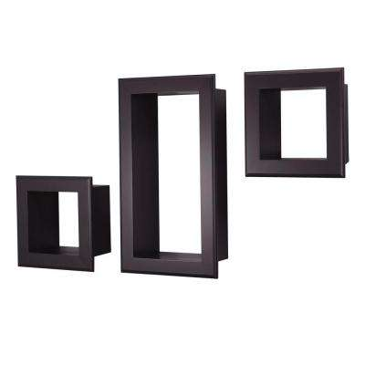 nexxt Framed Cubbi 10 in. x 18 in. MDF Wall Shelf in Black (3-Piece)
