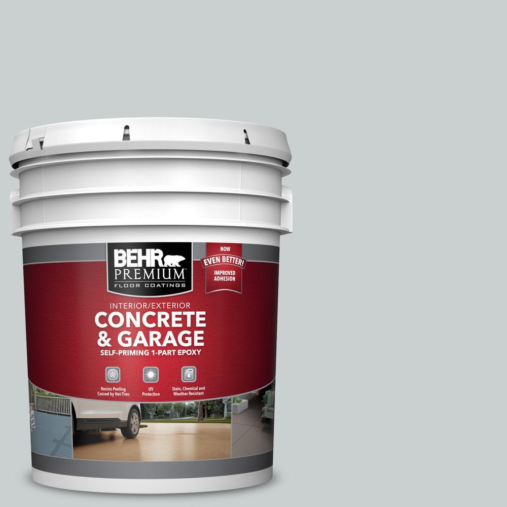 BEHR PREMIUM 5 gal. #PPF-17 Foggy Morn Self-Priming 1-Part Epoxy Satin Interior/Exterior Concrete and Garage Floor Paint