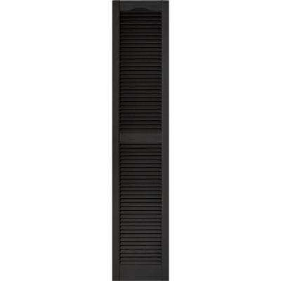15 in. x 72 in. Louvered Vinyl Exterior Shutters Pair in #002 Black