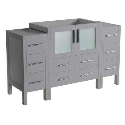 Torino 54 in. W Bath Vanity Cabinet Only in Gray with Side Cabinets