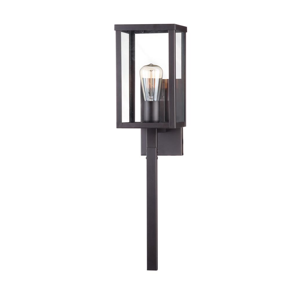 Home Decorators Collection 1-Light 24 in. Bronze Outdoor Wall Lantern Sconce