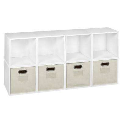 Cubo 52 in. H x 26 in. W White Wood Grain/Natural 8-Cube and 4-Bin Organizer
