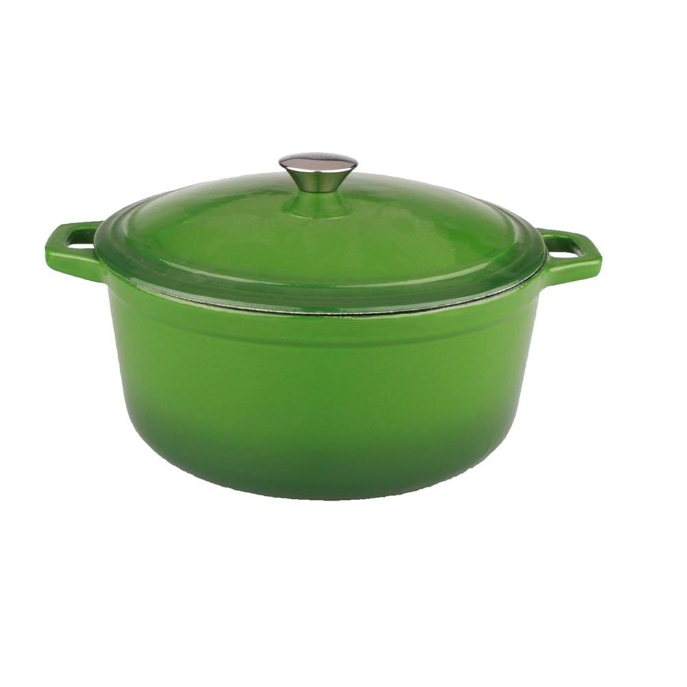Neo 5 Qt. Oval Cast Iron Green Casserole Dish with Lid
