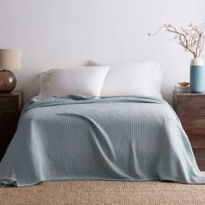 Pale Blue Organic Cotton Full Knitted Blanket
