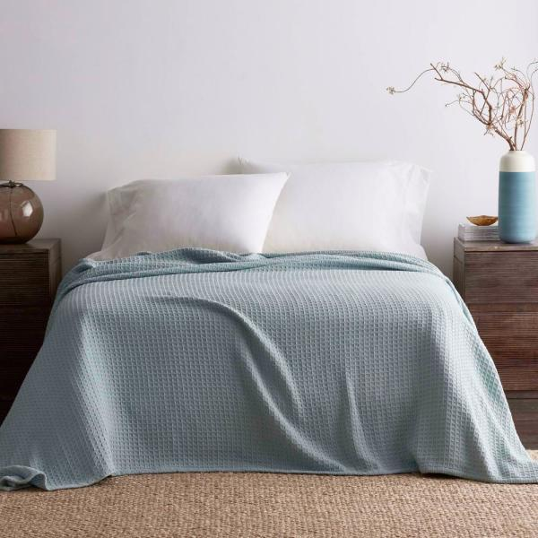 The Company Store Organic Pale Blue Cotton Queen Knitted Blanket