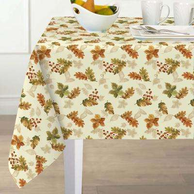 60 in. W x 84 in. L Ivory Elrene Swaying Leaves Polyester Fabric Tablecloth