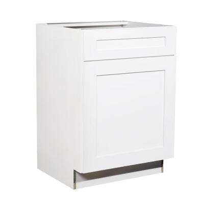 Ready to Assemble 24x34.5x21 in. Shaker 1 Door Vanity Sink Base Cabinet in White with Soft-Close