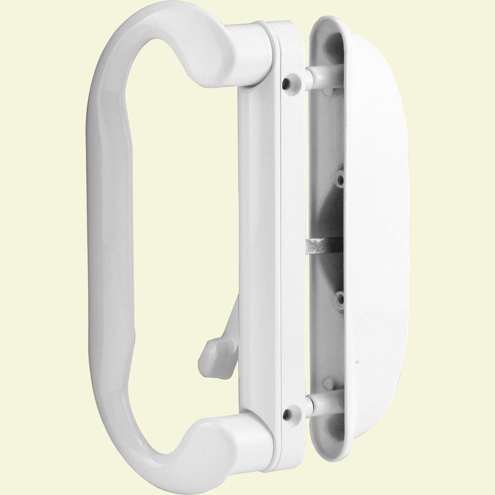 Prime Line White Latch Sliding Door Handle Set