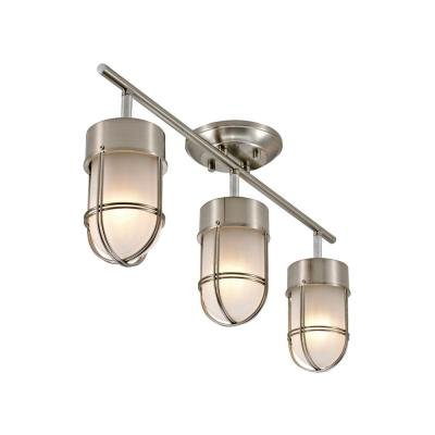 Miles 2 ft. 3-Light Brushed Nickel and Chrome Detail Track Lighting Kit