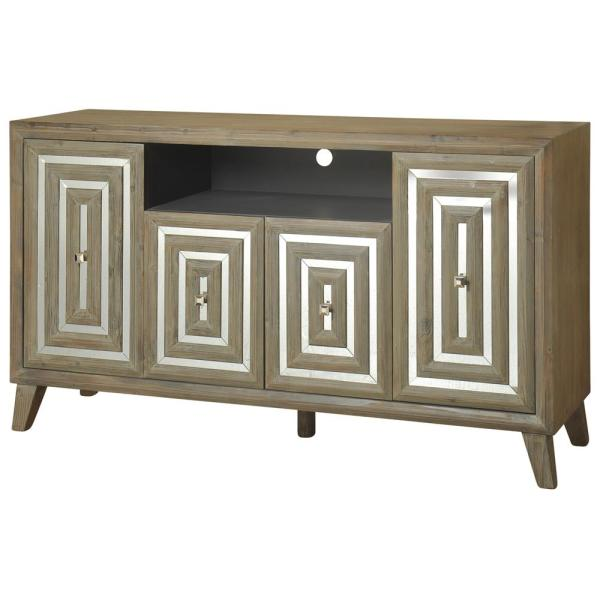 4-Door Driftwood Gray Inlaid Mirror TV Media Console