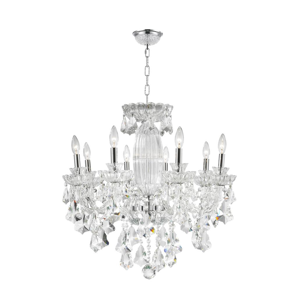 Olde World 8-Light Polished Chrome and Clear Crystal Chandelier