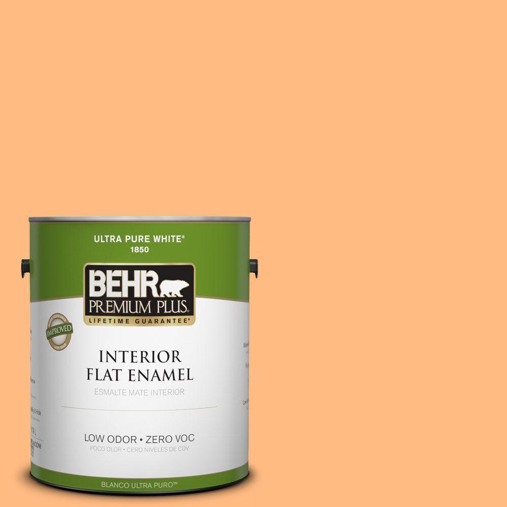 BEHR Premium Plus 1-gal. #270B-4 Apricot Flower Zero VOC Flat Enamel Interior Paint-DISCONTINUED