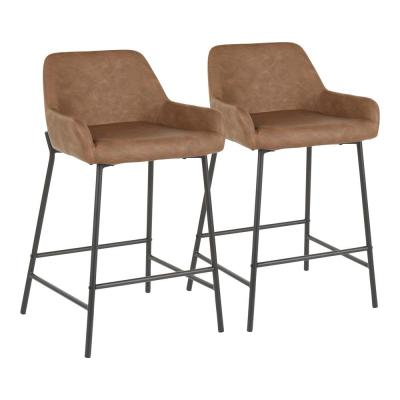 Daniella 24 in. Espresso Faux Leather Industrial Counter Stool (Set of 2)
