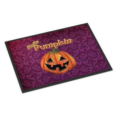 18 in. x 27 in. Indoor/Outdoor Hello Pumpkin Halloween Door Mat