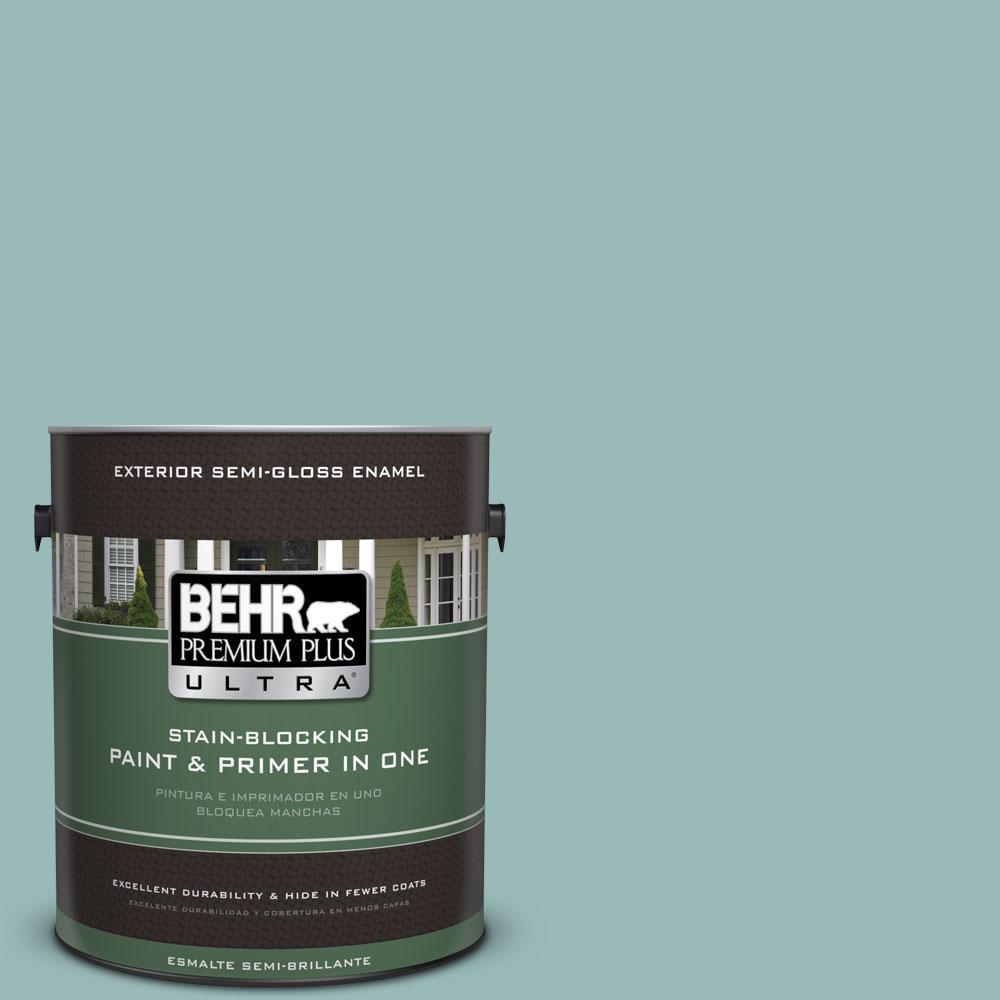 BEHR Premium Plus Ultra 1-gal. #PPU12-6 Lap Pool Blue Semi-Gloss Enamel Exterior Paint