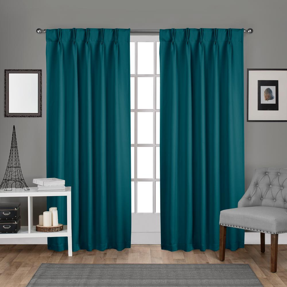 Sa 30 In W X 108 L Woven Blackout Pinch Pleat Top Curtain Panel Teal 2 Panels Eh8245 03 108p The Home Depot