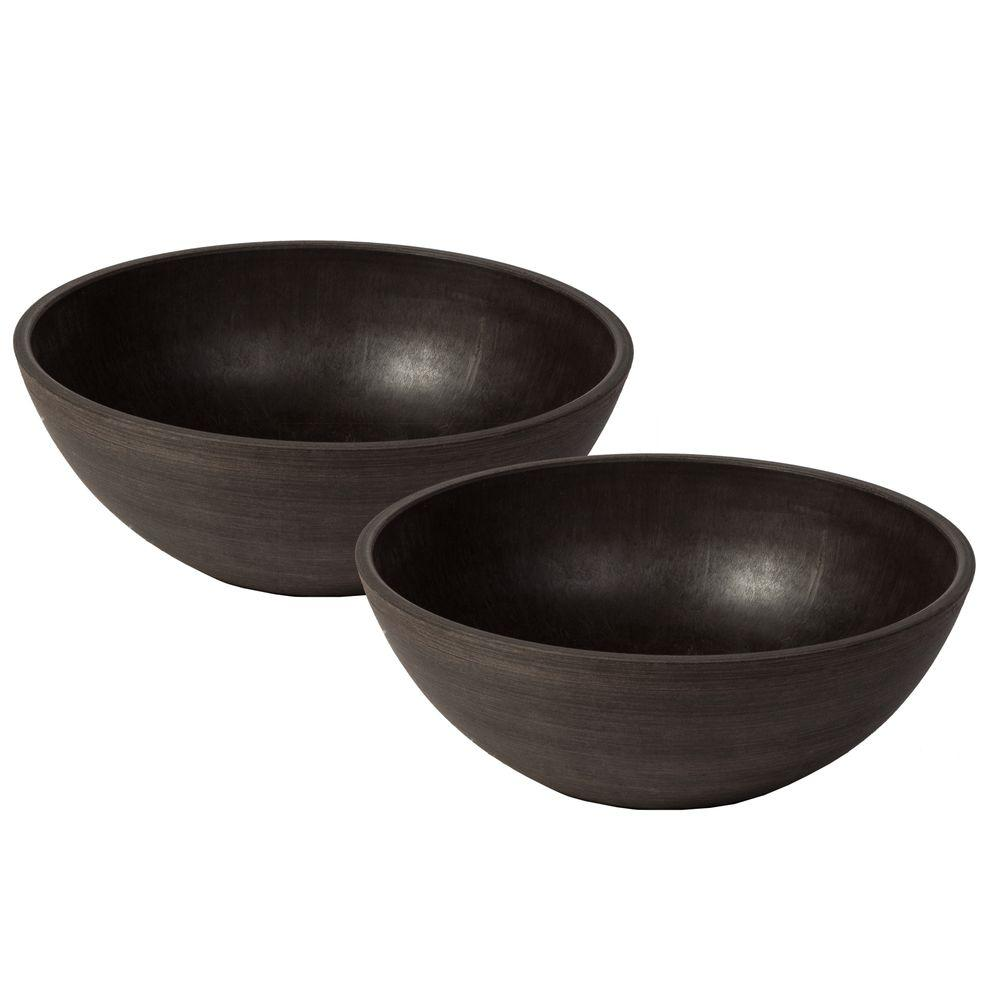 Valencia 10 in. Round Textured Brown Polystone Bowl Planter (2-Pack)