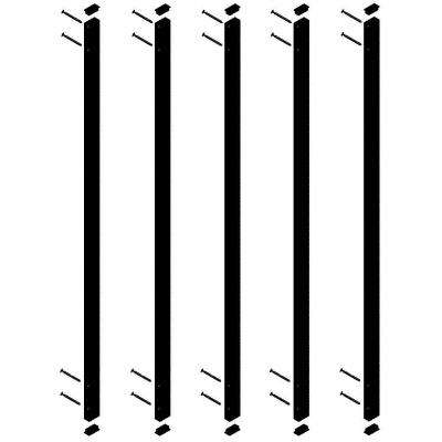 38-1/4 in. x 1 in. Black Aluminum Face Mount Rectangular Deck Railing Baluster (5-Pack)