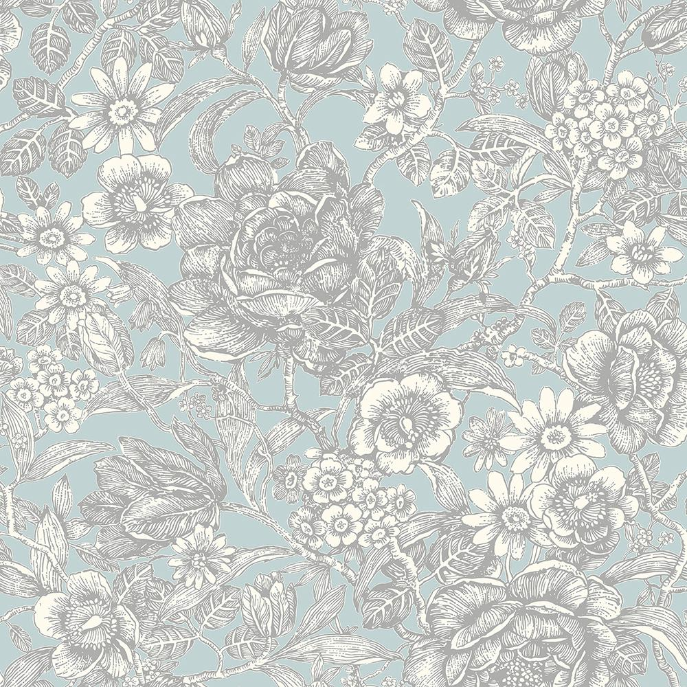 Crown 56 4 Sq Ft Hedgerow Light Blue Floral Trails Wallpaper