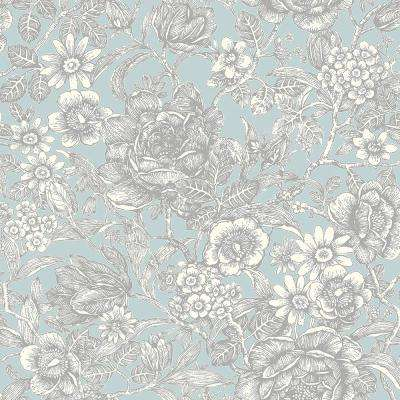 56.4 sq. ft. Hedgerow Light Blue Floral Trails Wallpaper