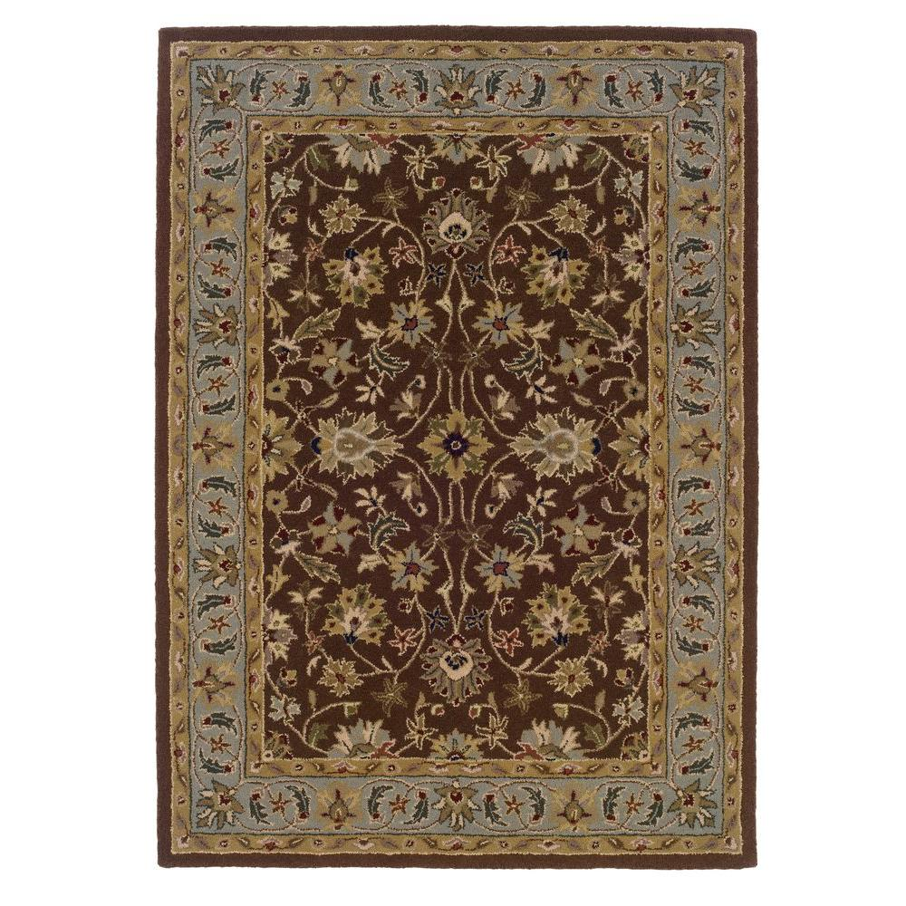 Linon home decor trio brown and light blue 5 ft x 7 ft for International home decor rugs