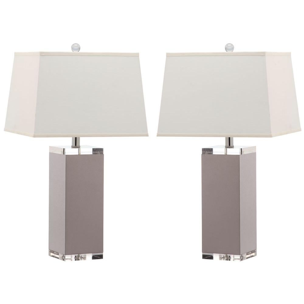 Deco Leather 25.5 in. Grey Table Lamp with White Shade (Set