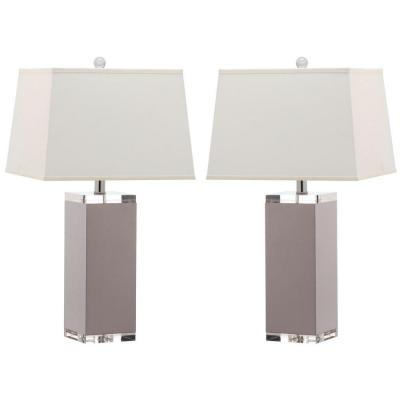 Deco Leather 25.5 in. Grey Table Lamp with White Shade (Set of 2)