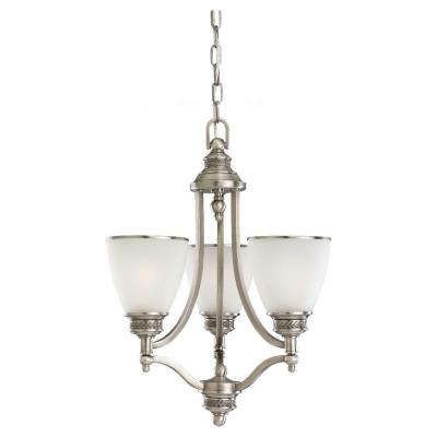 Laurel Leaf 3-Light Antique Brushed Nickel Single-Tier Chandelier