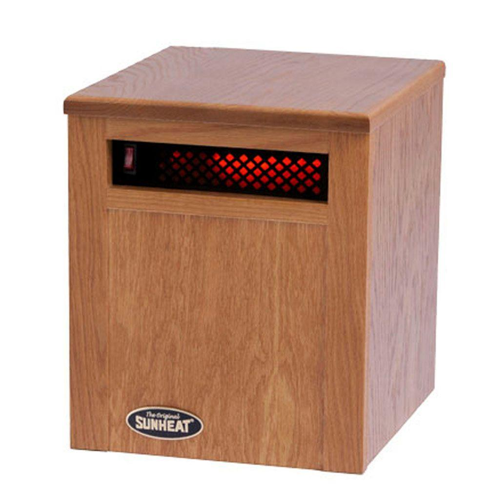 SUNHEAT 14 in. 750-Watt Infrared Electric Portable Heater with Cabinetry - Golden Oak