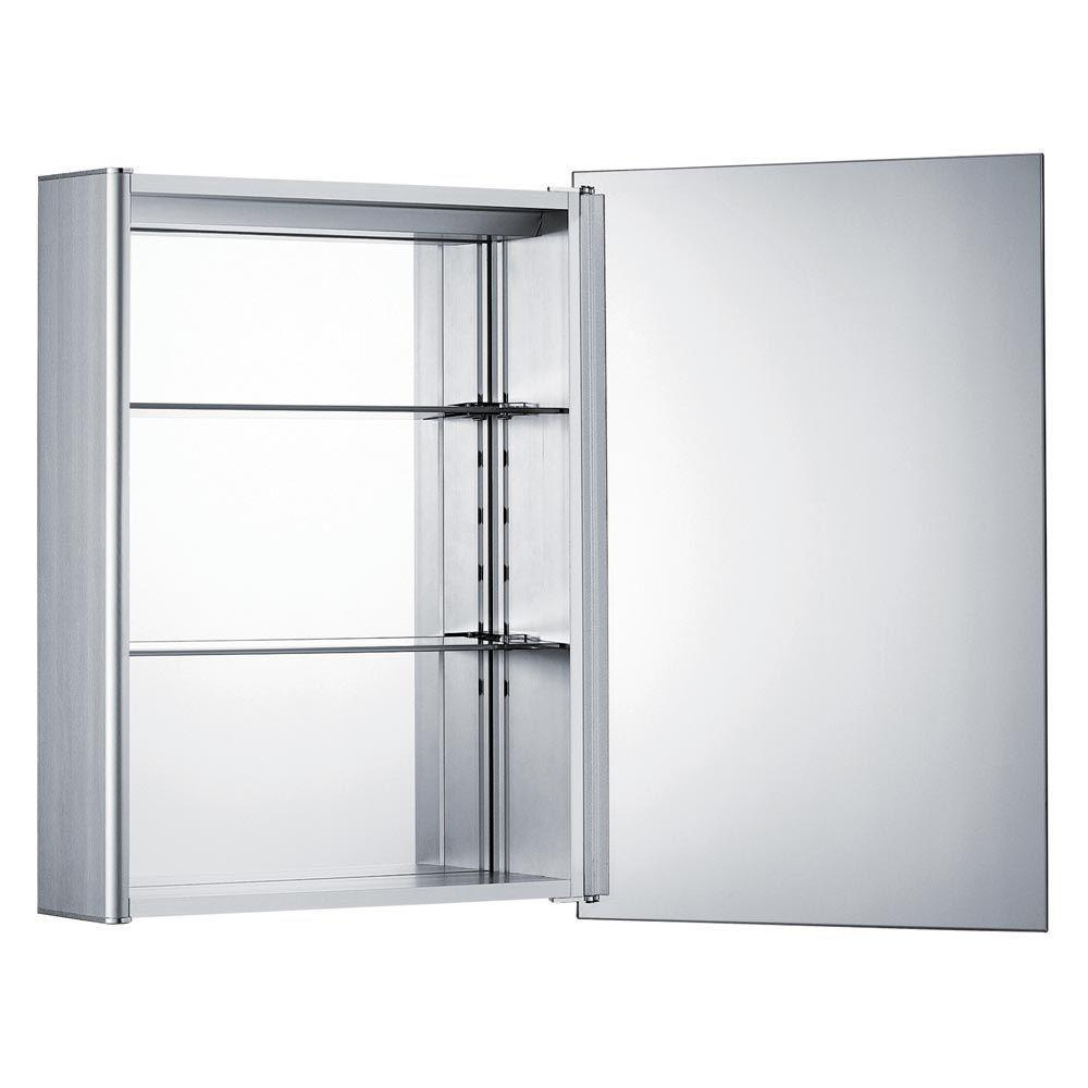 Medicinehaus 19-5/8 in. W x 27-1/2 in. H x 5-1/2 in. D Framed Aluminum Surface-Mount 1-Door Bathroom Medicine Cabinet