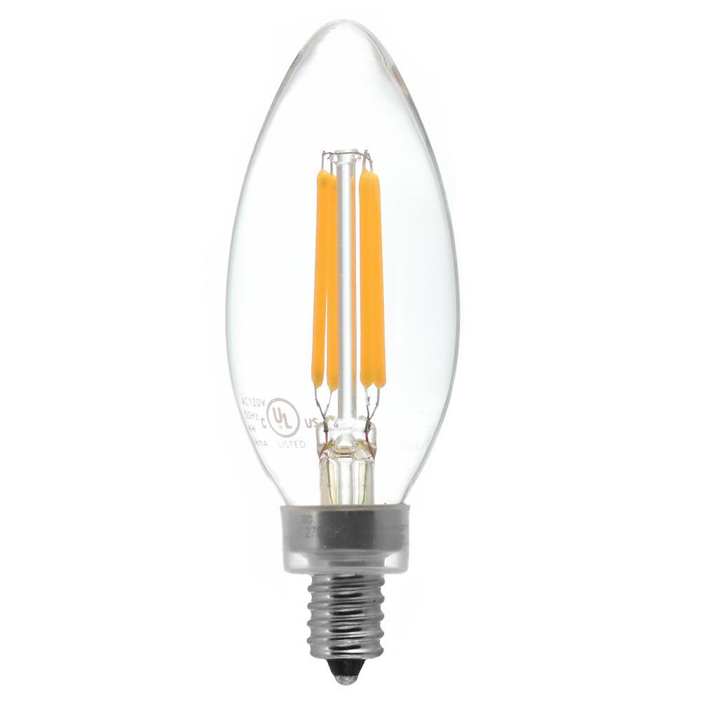 40-Watt Equivalent Candelabra Base (E12) Warm White (2700K) Dimmable Clear LED Blunt Tip C11 Light Bulb