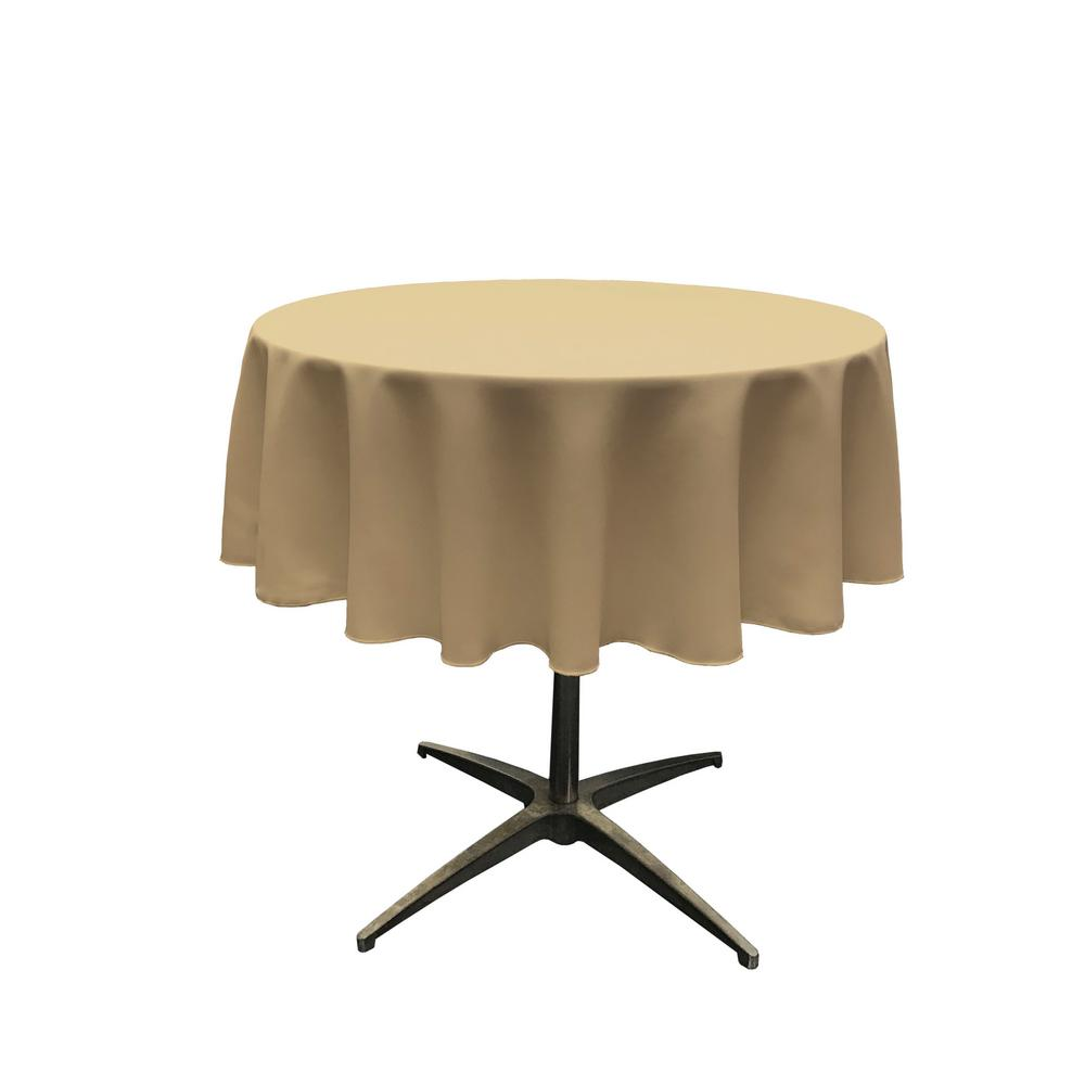 LA Linen Polyester Poplin Taupe 51 in. Round Tablecloth