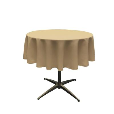 Polyester Poplin Taupe 51 in. Round Tablecloth