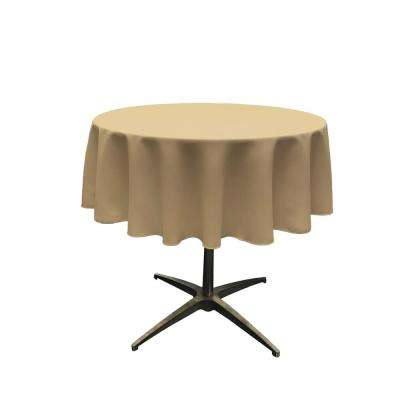 58 in. Round Taupe Polyester Poplin Tablecloth