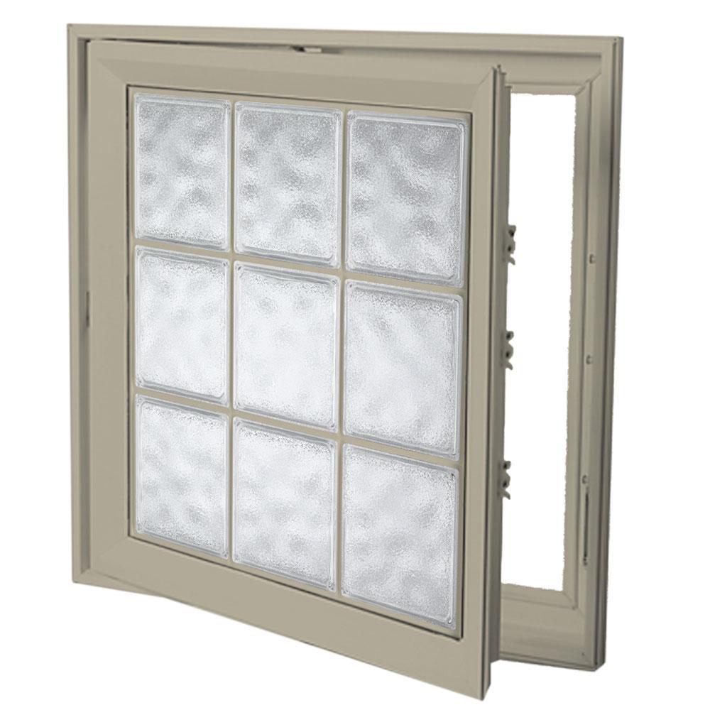 21 in. x 53 in. Left-Hand Acrylic Block Casement Vinyl Window with Tan Interior and Exterior