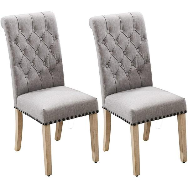 GRAY Luxury Fabric Dining Chair with Copper Nails and Solid Wood Feet (Set of 2)