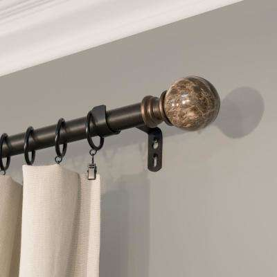 Core Marble Ball 72 in. - 144 in. Telescoping 1 in. Dia Drapery Rod Set in Brown