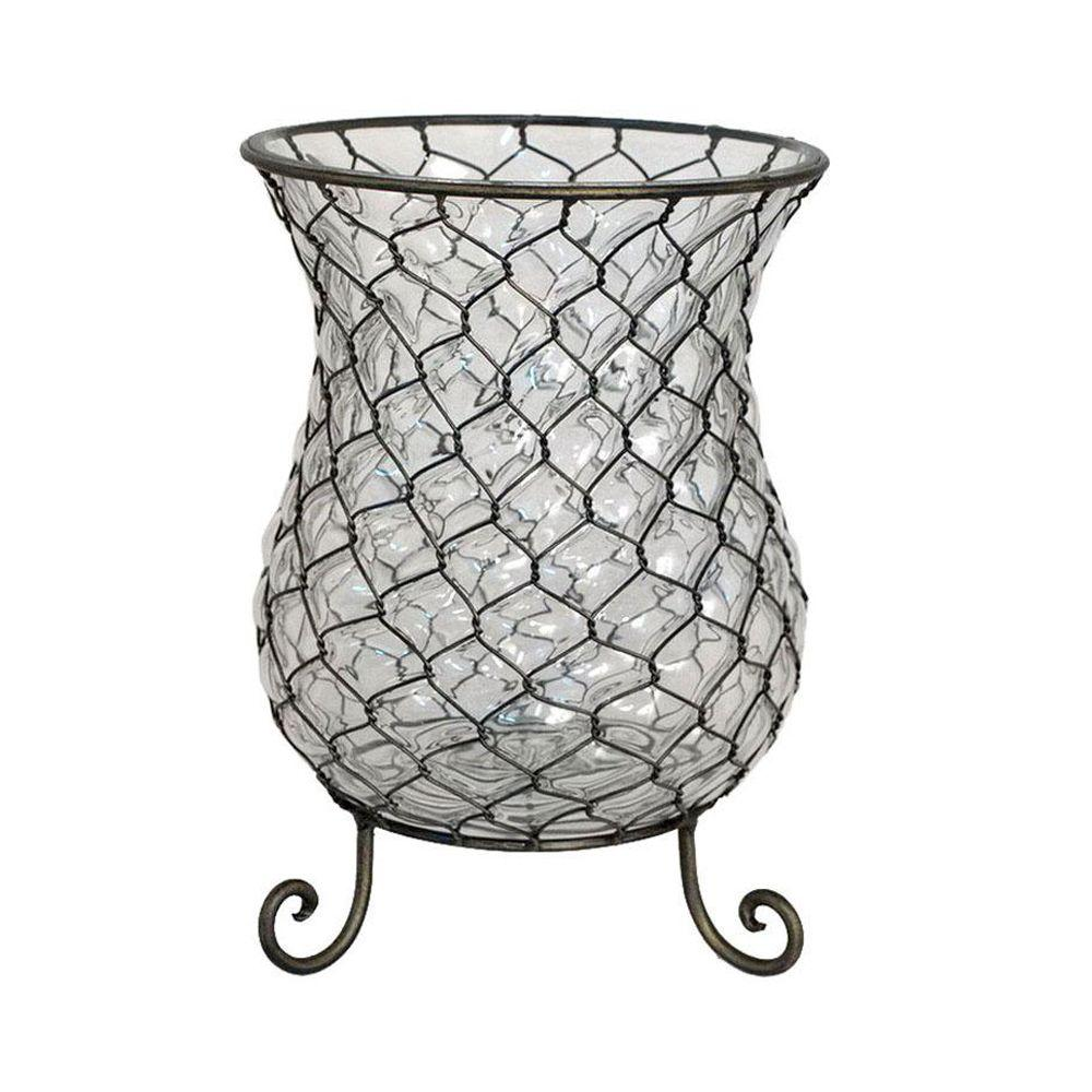Home Decorators Collection 12 in. H Penelope Bronze Glass Hurricane Candle Holder
