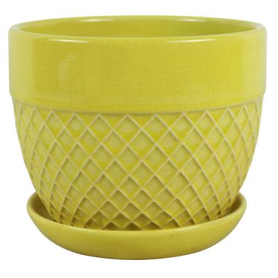 6 in. Dia Yellow Acorn Bell Ceramic Planter
