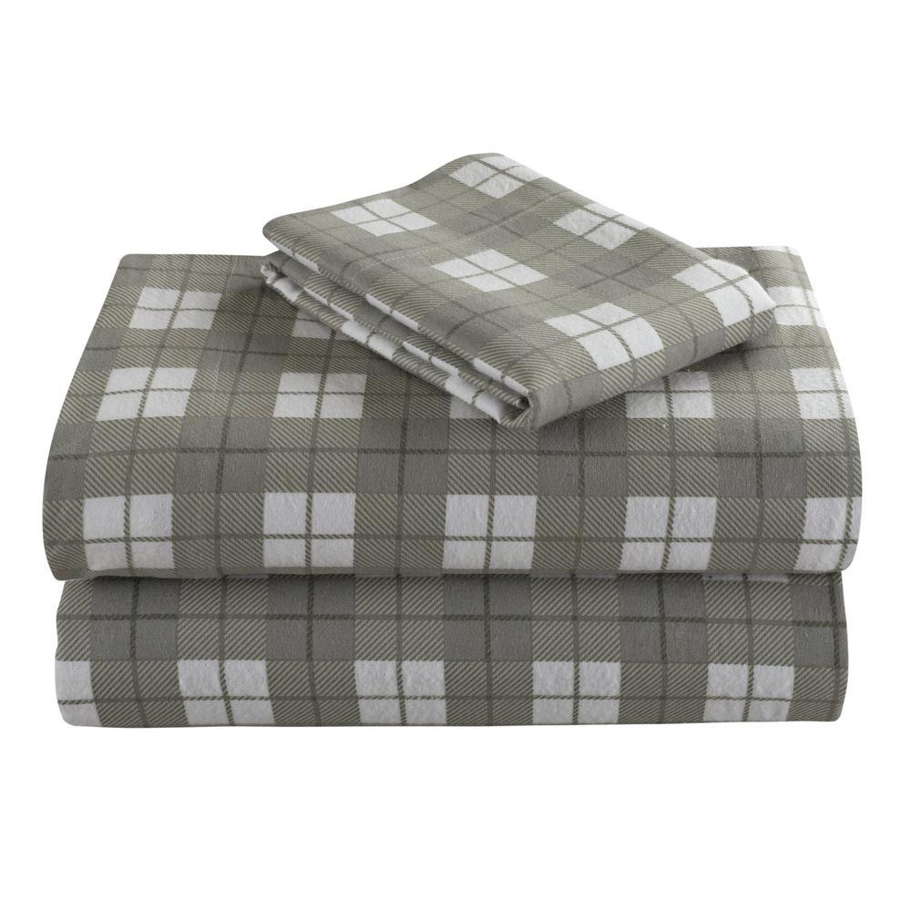 Geraldine 100% Cotton Grey Flannel King Sheet Set M577352