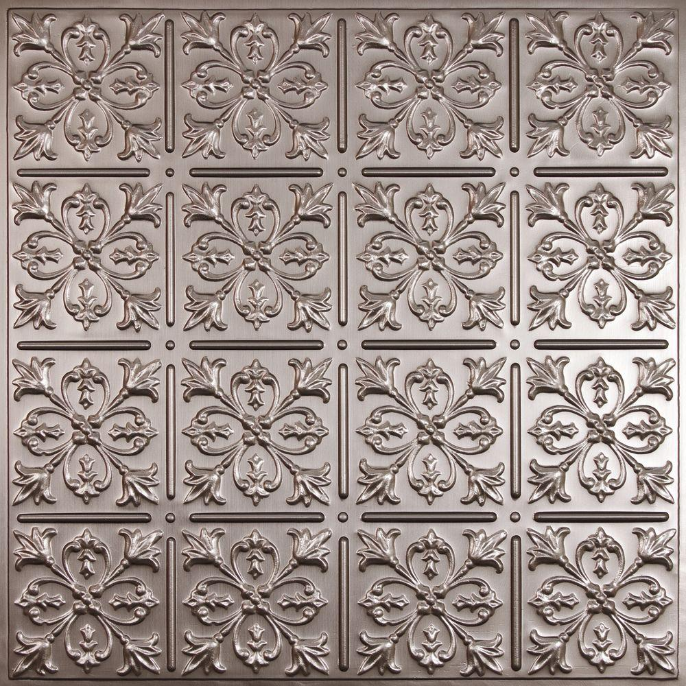 Ceilume Fleur-de-lis Faux Tin Evaluation Sample, Not suitable for installation - 2 ft. x 2 ft. Lay-in or Glue-up Ceiling Panel