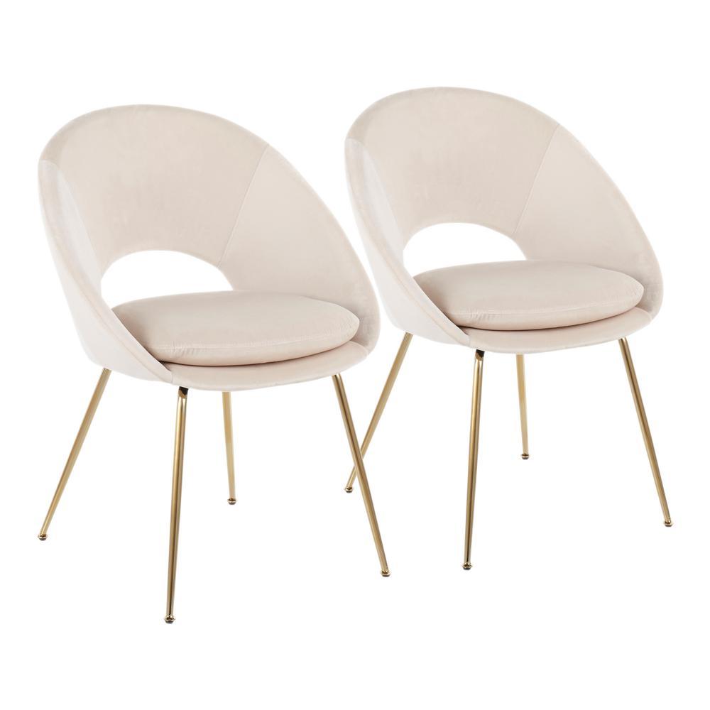 Metro Cream Velvet and Gold Dining Chair (Set of 2)