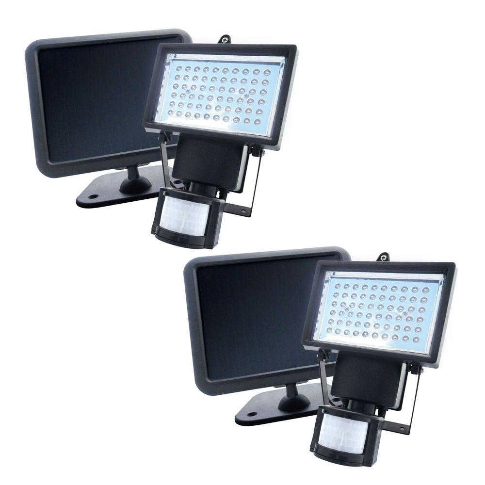 Black Solar Ed Motion Activated Outdoor 60 Led Security Light 2 Pack