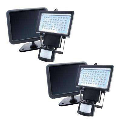 Black Solar Powered Motion Activated Outdoor 60-LED Security Light (2-Pack)