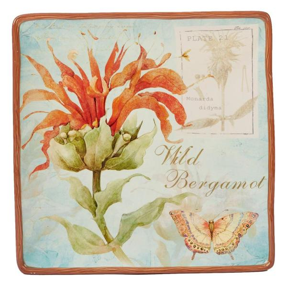 Certified International Herb Blossoms Multi-Colored 12.5 in. Ceramic Square