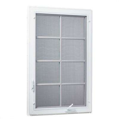 36 in. x 48 in. Right-Hand Vinyl Casement Window with Grids and Screen in White