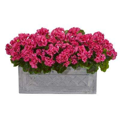 Indoor/Outdoor 18 in. Geranium Artificial Plant in Stone Planter UV Resistant