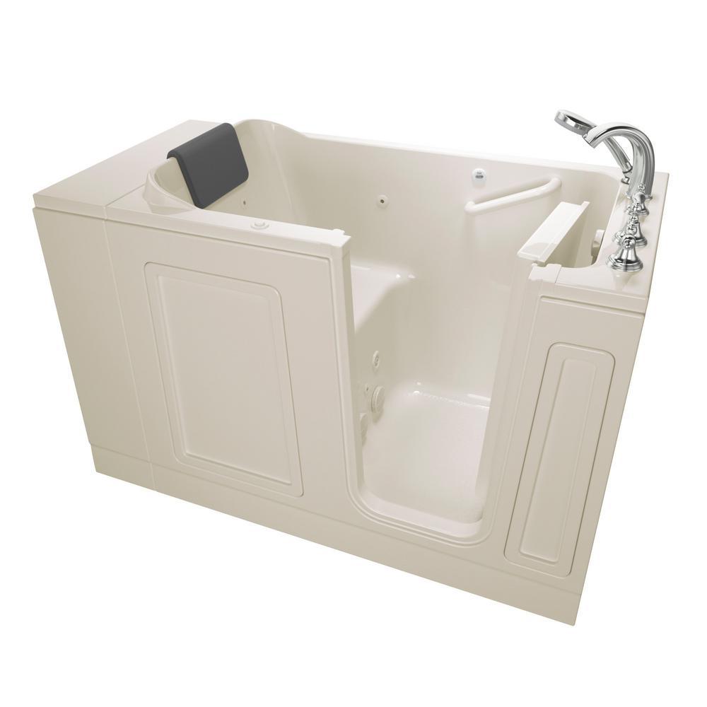 Acrylic Luxury 51 in. x 30 in. Right Hand Walk-In Whirlpool in Linen