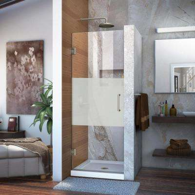 Unidoor 27 in. x 72 in. Frameless Hinged Pivot Shower Door in Brushed Nickel with Handle